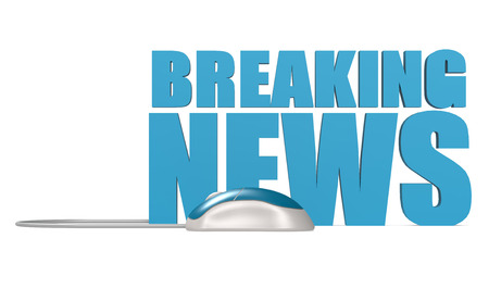 Blue computer mouse with breaking news word isolated, 3D rendering