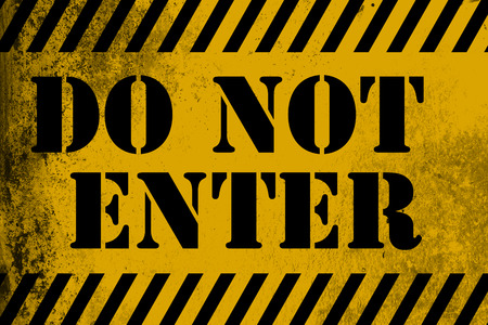 Do not enter sign yellow with stripes, 3D rendering