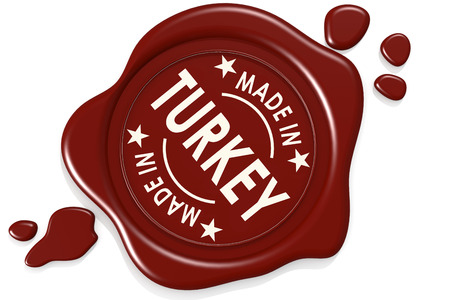 Photo pour Label seal of made in Turkey isolated on white background, 3D rendering - image libre de droit