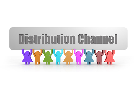 Foto de Distribution Channel word on a banner hold by group of puppets, 3D rendering - Imagen libre de derechos