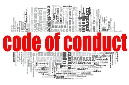 Foto de Code of conduct word cloud concept on white background, 3d rendering. - Imagen libre de derechos