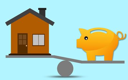 Photo pour Scale with piggy bank and house, 3D rendering - image libre de droit