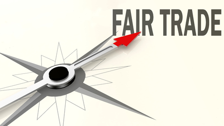 Fair trade word on compass with red arrow, 3D rendering