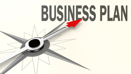 Business plan word on compass with red arrow, 3D rendering
