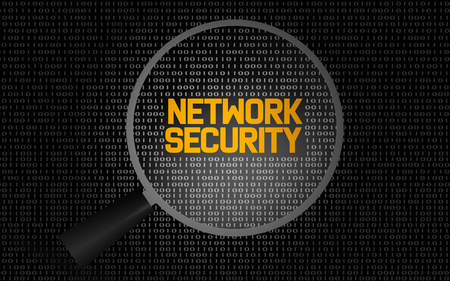 Photo pour Network security word with magnifying glass, 3D rendering - image libre de droit