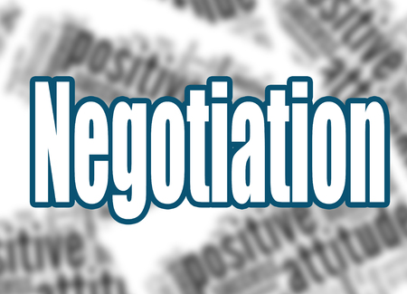 Negotiation word with word cloud background, 3D rendering
