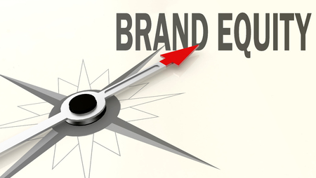 Brand equity word on compass with red arrow, 3D rendering