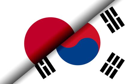 Photo for Flags of the Japan and South Korea divided diagonally. 3D rendering - Royalty Free Image