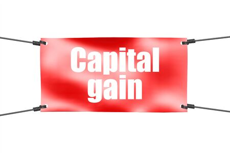 Capital gain word with red tie up banner, 3D rendering