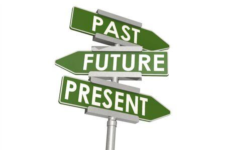 Photo pour Past future and present word on road sign, 3D rendering - image libre de droit
