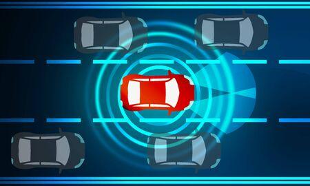 Photo pour Concept for driver assistance systems. Autonomous car, 3d rendering - image libre de droit
