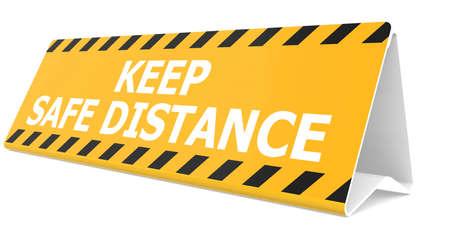 Photo pour Table sign with keep safe distance word, 3D rendering - image libre de droit
