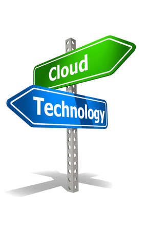 Photo for Road sign with cloud technology word, 3d rendering - Royalty Free Image