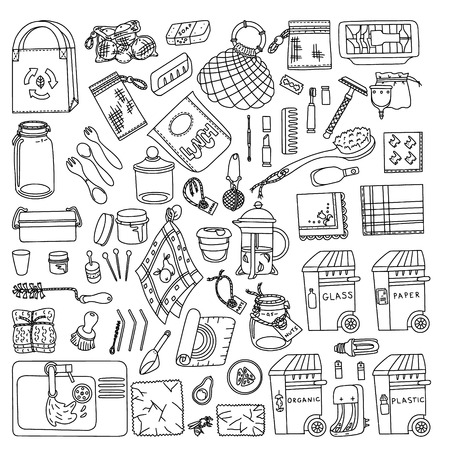 Illustration for Zero waste doodle. Kitchen, beauty, home and shopping. Ecoliving. Sustainable houshold. - Royalty Free Image