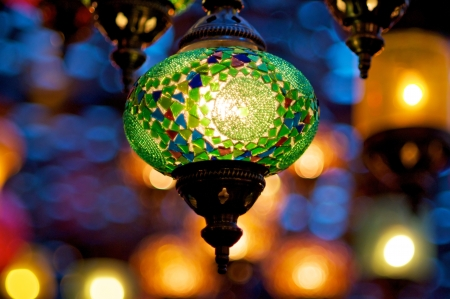 Colorful traditional lamps lit up