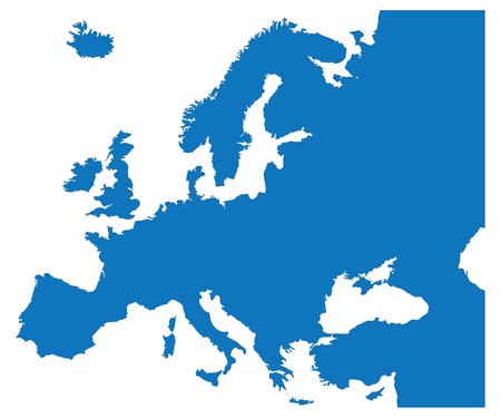 Blue Map of the European Countries