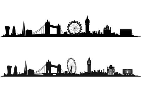 Illustration pour London Skyline Silhouette in black and white - image libre de droit