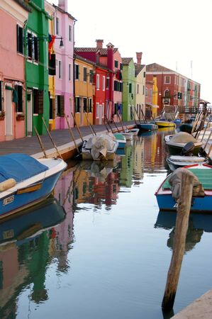 Burano colored houses in the Venice Lagoon