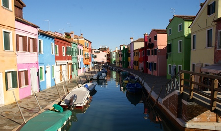 Canal with Boats in Burano, Venice