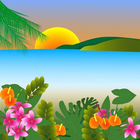 Illustration pour Illustration tropical flowers against the backdrop of the sea - image libre de droit