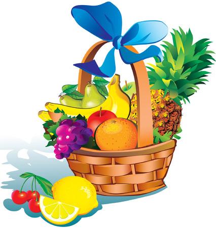 Foto de Beautiful fruits with basket over white background. Salubrious food. - Imagen libre de derechos