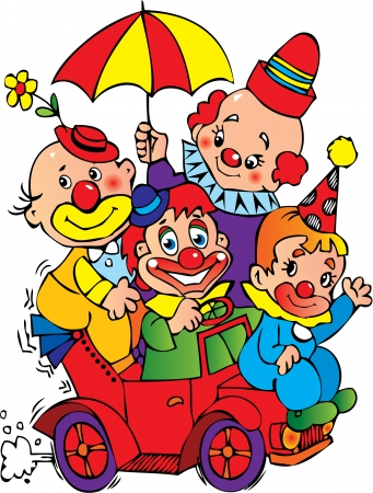 Funny clowns in the car on a white background. Vector art-illustration.