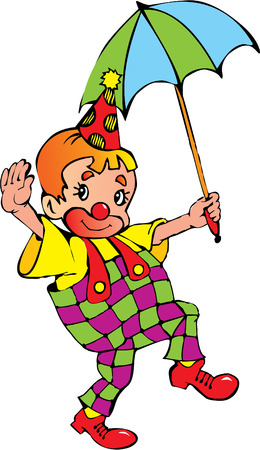 Funny clown with umbrella on a white background. Vector art-illustration.