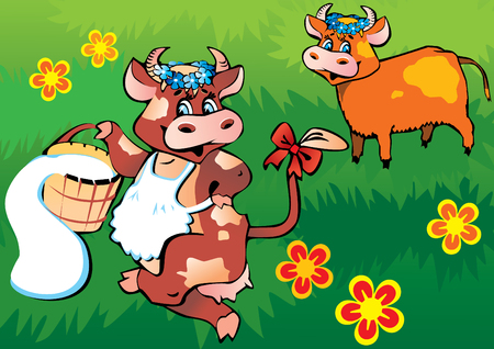 Happy friendly cows dancing in the meadow. art-illustration.
