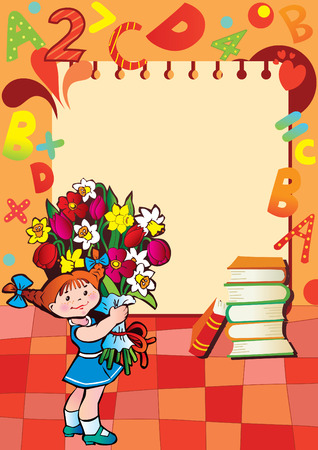 School childhood. Small girl with flowers in the school. Place for your text. Illustration.