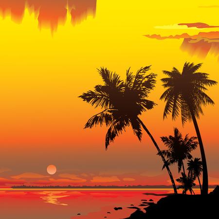 Illustration pour Silhouette of the jungle on the ocean background.  art-illustration. - image libre de droit