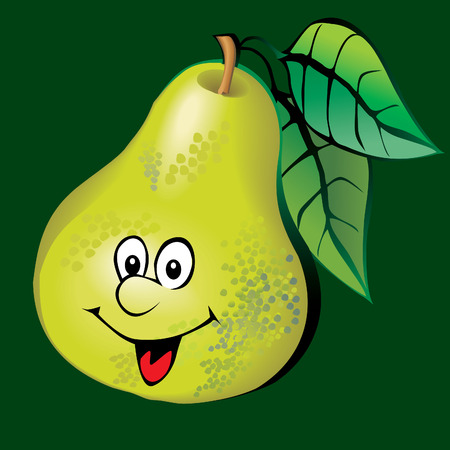 Lively pear. Art-illustration on a green background.