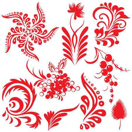 Floral collection. Vector art-illustration on a white background.
