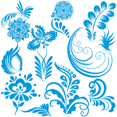 Vector design elements for Christmas and New Year on a white background.