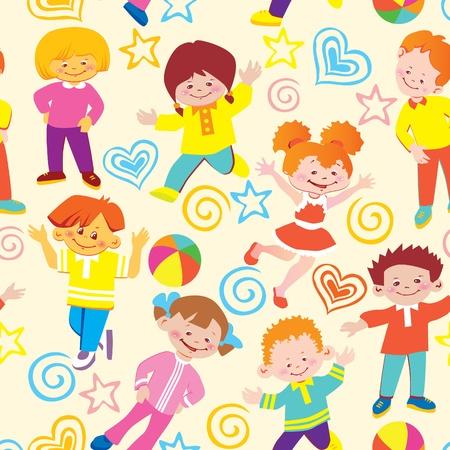 Seamless  children pattern. Vector art-illustration.