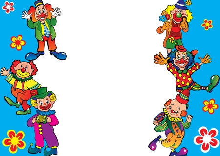 Funny clowns frame. Place for your text. Vector art-illustration.