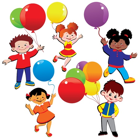 Children with balloons. Happy childhood. Vector art-illustration.