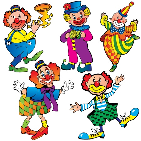 Funny clowns  Vector art-illustration on a white background