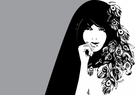Beautiful girl  Vector art-illustration on a grey background