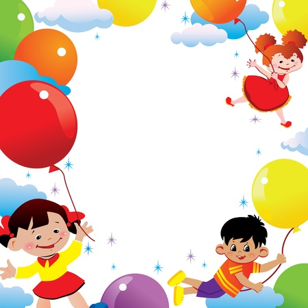Children flying on balloons  Place for your text  Happy childhood art-illustration