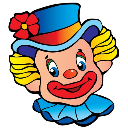Happy clown art-illustration on a white background