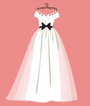 vector illustration of a beautiful wedding dress