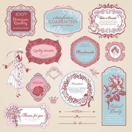 Illustration pour Collection of vintage labels and elements - image libre de droit