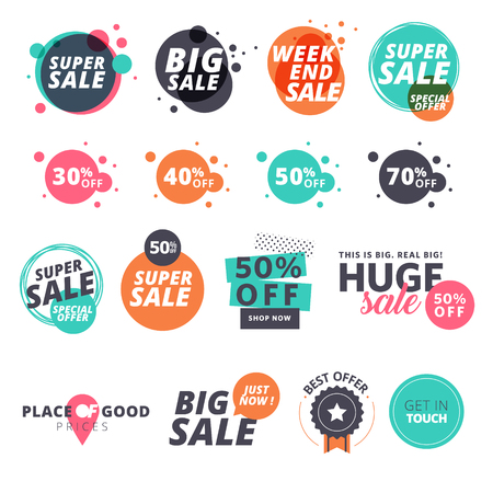 Ilustración de Set of flat design sale stickers. illustrations for online shopping, product promotions, website and mobile website badges, ads, print material. - Imagen libre de derechos