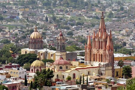 La Parroquia (Church of St. Michael the Archangel) and the Temple of the Nuns in the historic Mexican city of San Miguel de Allende.