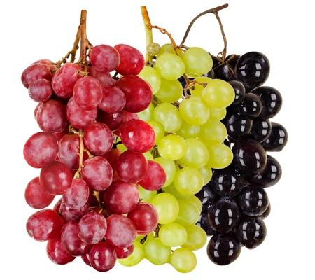 Foto für still life  black, green, red  bunch of grapes close up, on white background, isolated - Lizenzfreies Bild