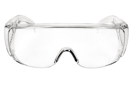 photo white protective spectacles on white background isolated, close up full face