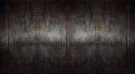Photo pour background of texture rusty steel covering with rivet, horizontal iron background - image libre de droit