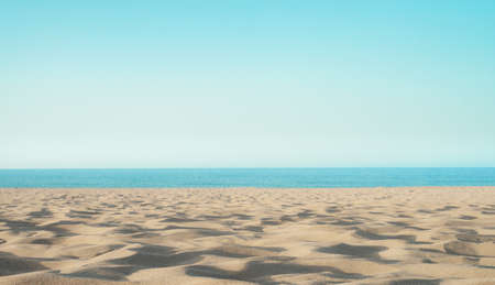 Photo for sandy sea coast with white sand, empty beach, concept resort holiday - Royalty Free Image