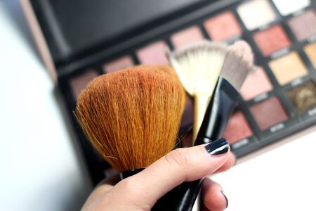 Photo for Make up palette and mix of brushes over white background - Royalty Free Image