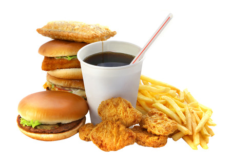 Fast food group with a drink and a burger on a white background